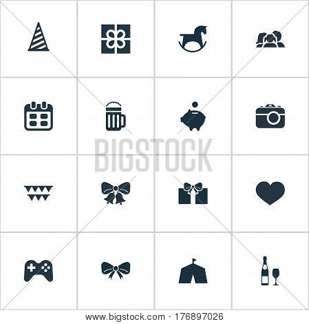 Vector Illustration Set Of Simple Holiday Icons. Elements Cap, Resonate, Circus And Other Synonyms Joystick, Knot And Tourism.