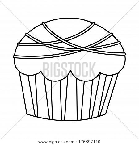 figure muffin with chocolate icon, vector illustration design