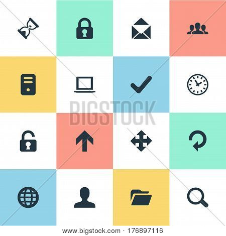 Vector Illustration Set Of Simple Practice Icons. Elements User, Open Padlock, Lock And Other Synonyms Padlock, Zoom And Refresh.