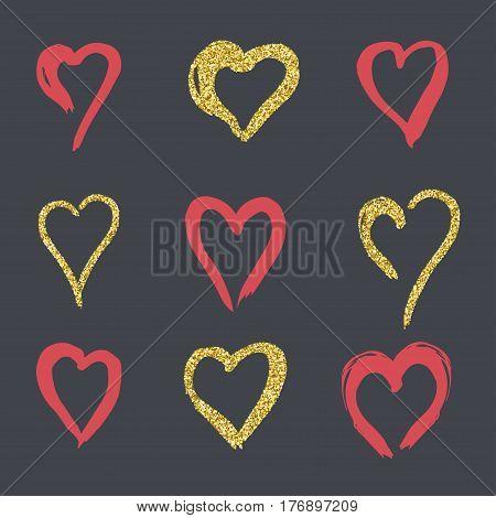 set of doodle hearts in style, logo, symbol of love gold, rose on a black background. use in decoration, design, emblem. vector illustration.