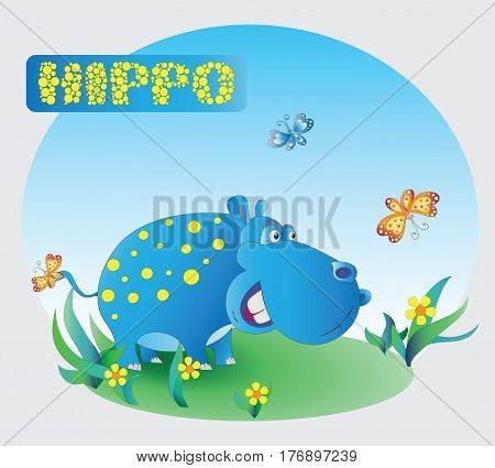 Funny Hippo. Zoo. A child's drawing. Blue Hippo. Cartoon characters. Design for pattern, textiles, children's book, the background image.