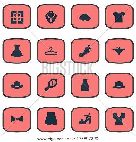 Vector Illustration Set Of Simple Wardrobe Icons. Elements Skirt, Footwear, Hat And Other Synonyms Wardrobe, Stand And Hanger.