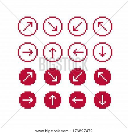 Set Of Vector Retro Cursor Signs Made In Pixel Art Style. Simplistic Arrows Pointing At Different Di