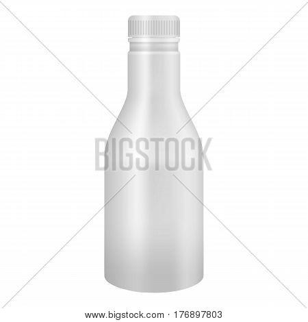 White yogurt or milk plastic bottle mockup. Realistic illustration of white yogurt or milk plastic bottle vector mockup for web
