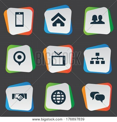 Vector Illustration Set Of Simple Network Icons. Elements House Location, Telly, World And Other Synonyms Location, Structure And Talking.