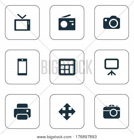 Vector Illustration Set Of Simple Hardware Icons. Elements Projector, Camera, Photocopier And Other Synonyms Arrow, Tv And Tuner.