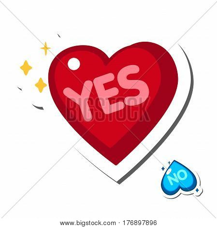 She said Yes. Vector isolated hand drawn hand lettering with big red heart. Printable wedding card template. Sticker Design elements vector illustration
