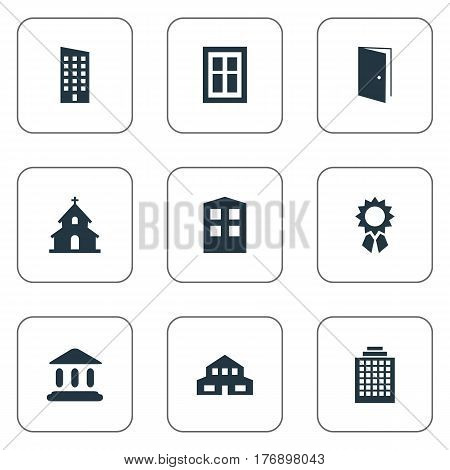 Vector Illustration Set Of Simple Architecture Icons. Elements Popish, Floor, Booth And Other Synonyms Achievement, Gate And Glazing.