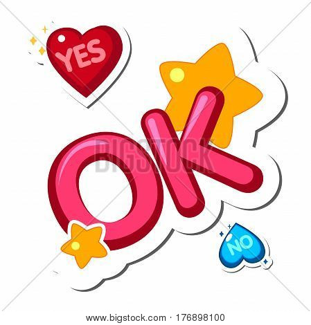 Cute words and phrases. Popular phrases. Yes No OK. Sticker Design elements vector illustration