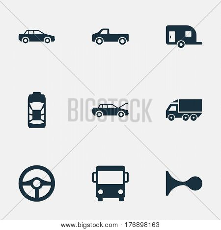 Vector Illustration Set Of Simple Automobile Icons. Elements Caravan, Klaxon, Haulage And Other Synonyms Van, Tuning And Carriage.