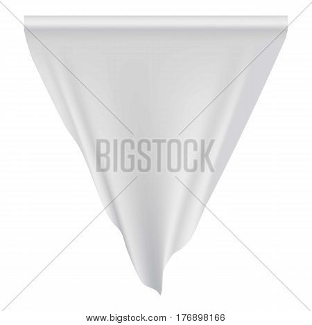 White pennant hanging mockup. Realistic illustration of white pennant hanging vector mockup for web