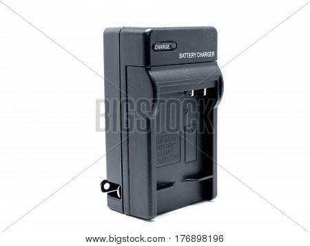 Battery Charger On White Background.