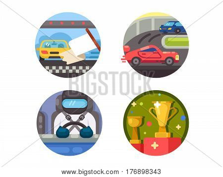 Set of race icons. Speed racing on cars. Vector illustration. Pixel perfect icons size - 128 px