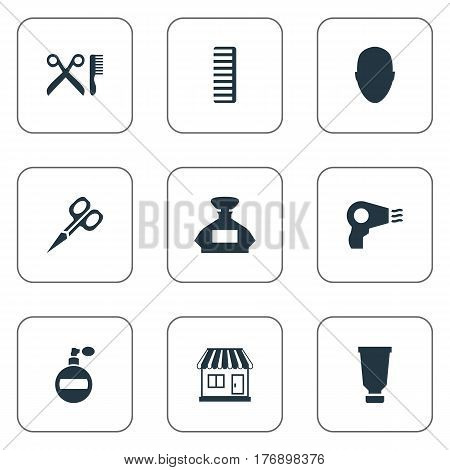 Vector Illustration Set Of Simple Hairdresser Icons. Elements Barber Tools, Bottle, Scent And Other Synonyms Scissors, Smell And Aroma.