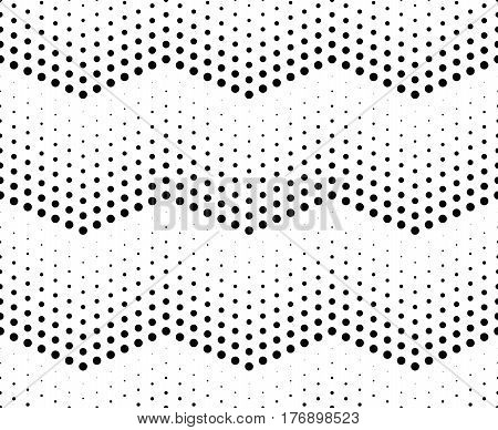 Halftone pattern background. Universal vector seamless pattern. Halftone dots on white background. Screen print texture. Monochrome geometric texture with repeated dots of different sizes.