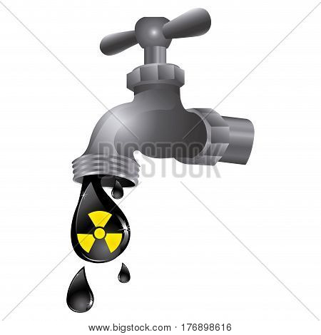 faucet with drop water contaminated, vector illustration design