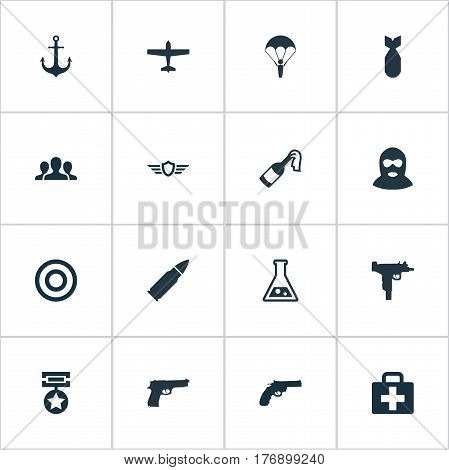 Vector Illustration Set Of Simple Battle Icons. Elements Paratrooper, Molotov, Chemistry And Other Synonyms Paratrooper, Target And Uzi.