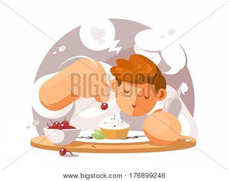 Confectioner in white cap. Man preparing cake with cherry. Vector illustration