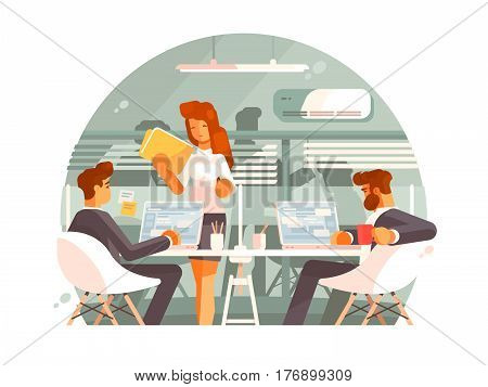 Workflow in business office. Team work on project. Vector illustration