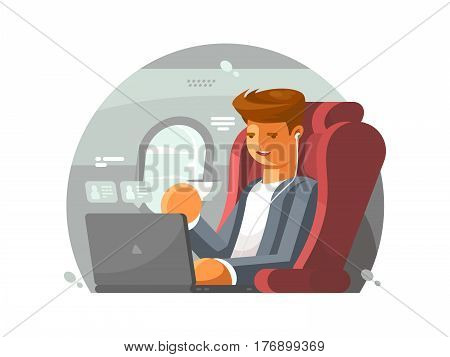 Businessman on plane. Man in first class with laptop. Vector illustration