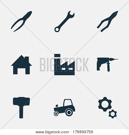 Vector Illustration Set Of Simple Axe Icons. Elements Wrench, Clipping Tool, Clamping Instrument And Other Synonyms Agriculture, Gears And Engineering.