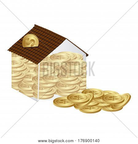housing save coins with money outside, vector illustration design