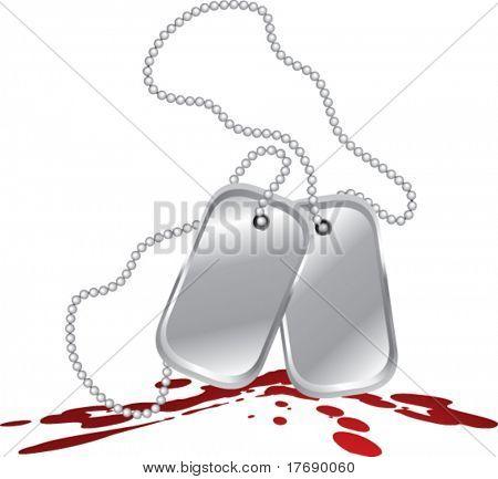 dog tags on blood splat