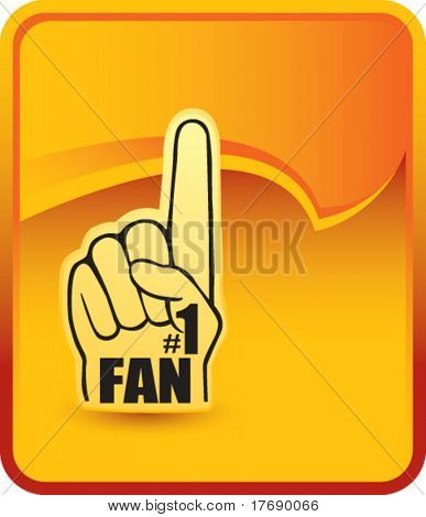 number one fan foam hand on background with rip curl