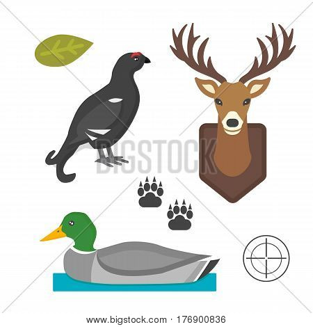 Deer head and bird duck wild silhouette mammal reindeer wildlife antler graphic and design horned stag drawing sign trophy emblem hunt male vector illustration. Brown hunting animal symbol.