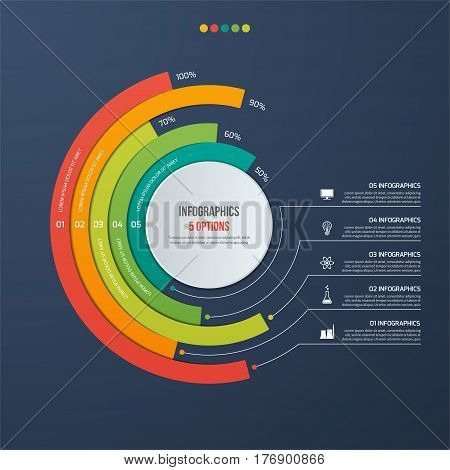 Circle Informative Infographic Design With 5 Options