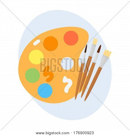 Multicolor watercolour paint box vector illustration drawing container education school and hobby tool creativity colorful palette equipment. Hand drawn signs for creation game.