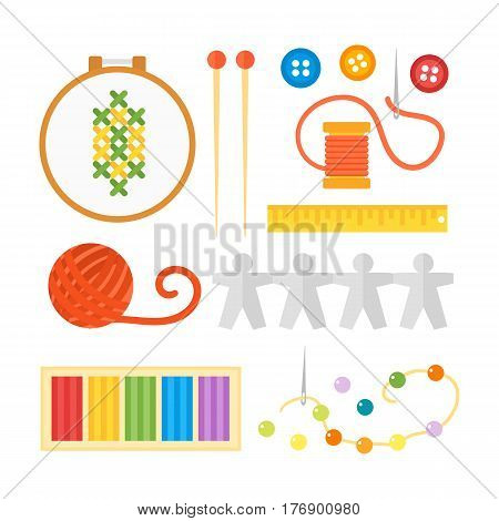 Themed kids creativity creation symbols poster in flat style with artistic objects for children art school fest unusual toys network pin needle beads vector illustration. Hand drawn signs for games.