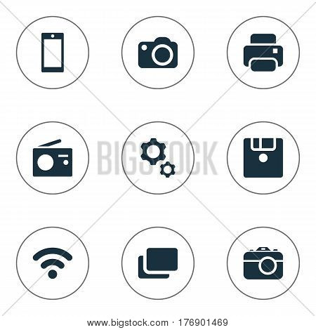 Vector Illustration Set Of Simple Digital Icons. Elements Photocopier, Layout, Smartphone And Other Synonyms Wifi, Settings And Tuner.