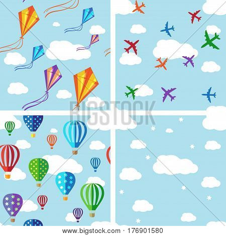 Set of seamless pattern. Vector background with colorful jets, air balloons and kites on the blue sky.