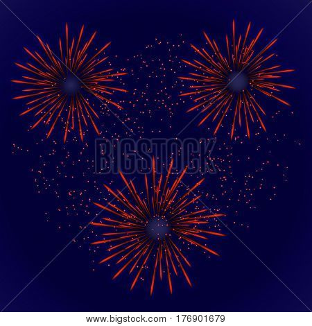 Fest firework with red stars. Vector illustration