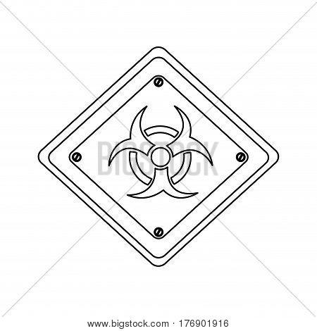 silhouette metal biohazard warning sign icon, vector illustration design