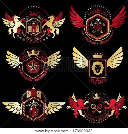Heraldic Coat Of Arms Created With Vintage Vector Elements, Bird Wings, Animals, Towers, Crowns And