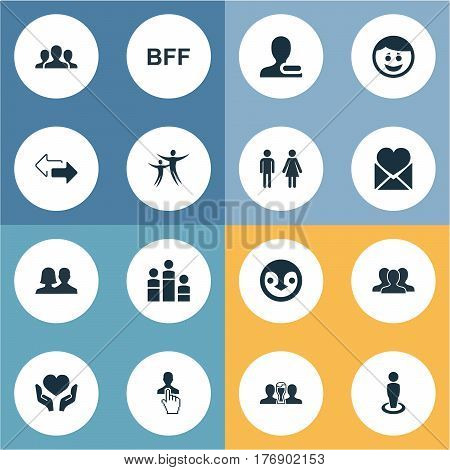 Vector Illustration Set Of Simple Buddies Icons. Elements Merry, Crowd, Penguin And Other Synonyms Smile, Person And Penguin.