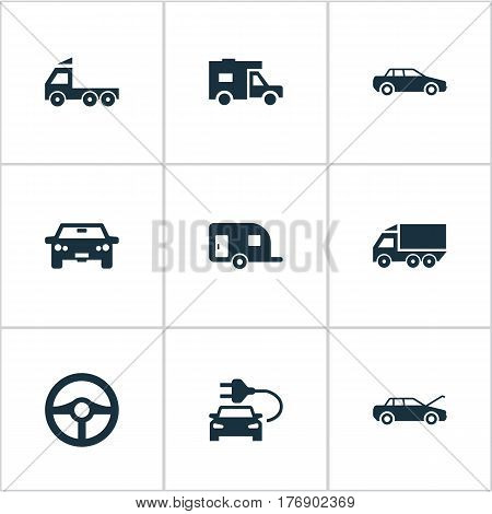 Vector Illustration Set Of Simple Automobile Icons. Elements Driving, Car Charging, Steering Wheel And Other Synonyms Transportation, Carcase And Wheel.