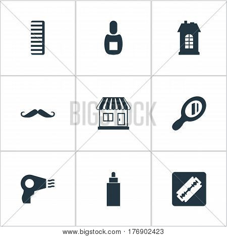 Vector Illustration Set Of Simple Barber Icons. Elements Hackle, Whiskers, Supermarket And Other Synonyms Hairdryer, Comb And Whiskers.