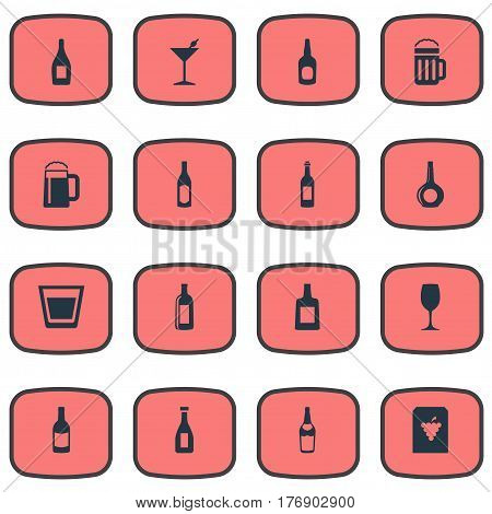 Vector Illustration Set Of Simple Water Icons. Elements Liquor, Vine, Beverage And Other Synonyms Cognac, Water And Bottle.