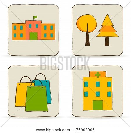Urban buildings and places icons set. Vector illustration EPS8
