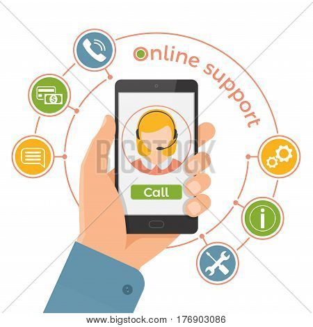 Online Support Service.technical Support Call Center Concept. Hand Holding Smartphone With Male Oper