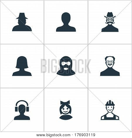 Vector Illustration Set Of Simple Avatar Icons. Elements Moustache Man, Male With Headphone, Whiskers Man And Other Synonyms Whiskers, Man And Mustaches.