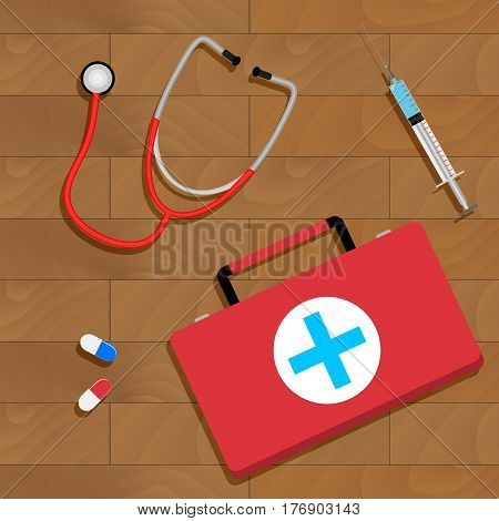 Tools of doctor on table. Doctor workplace concept diagnostic and instrument. Vector illustration