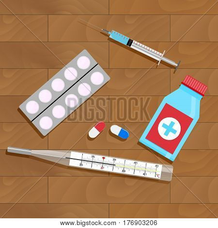 Treatment of influenza and colds. Bottle and pack capsule. Vector illustration