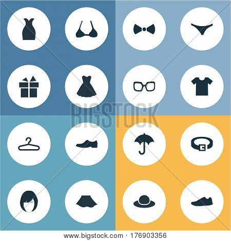 Vector Illustration Set Of Simple Dress Icons. Elements Elegant Headgear, Attire, Rack And Other Synonyms Optic, Hanger And Skirt.