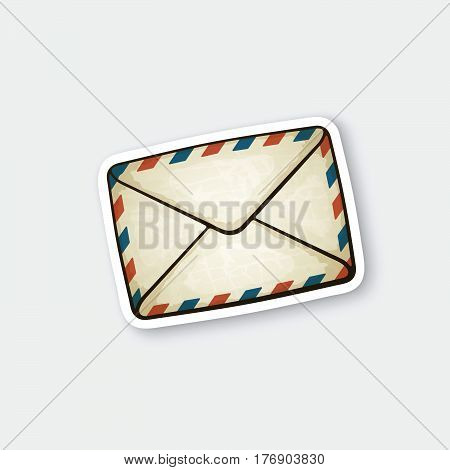 Vector illustration. Closed vintage mail envelope. Not read incoming message. Sticker in cartoon style with contour. Decoration for greeting cards patches prints for clothes badges posters emblems
