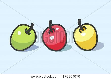 Vector illustration of still life of three colorful apples