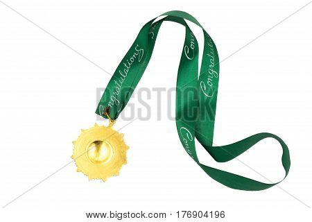 Gold medal with green ribbon on white background
